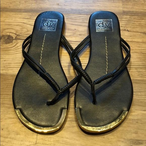 Dolce Vita Shoes - Dolce Vita Black and Gold Flip-flops